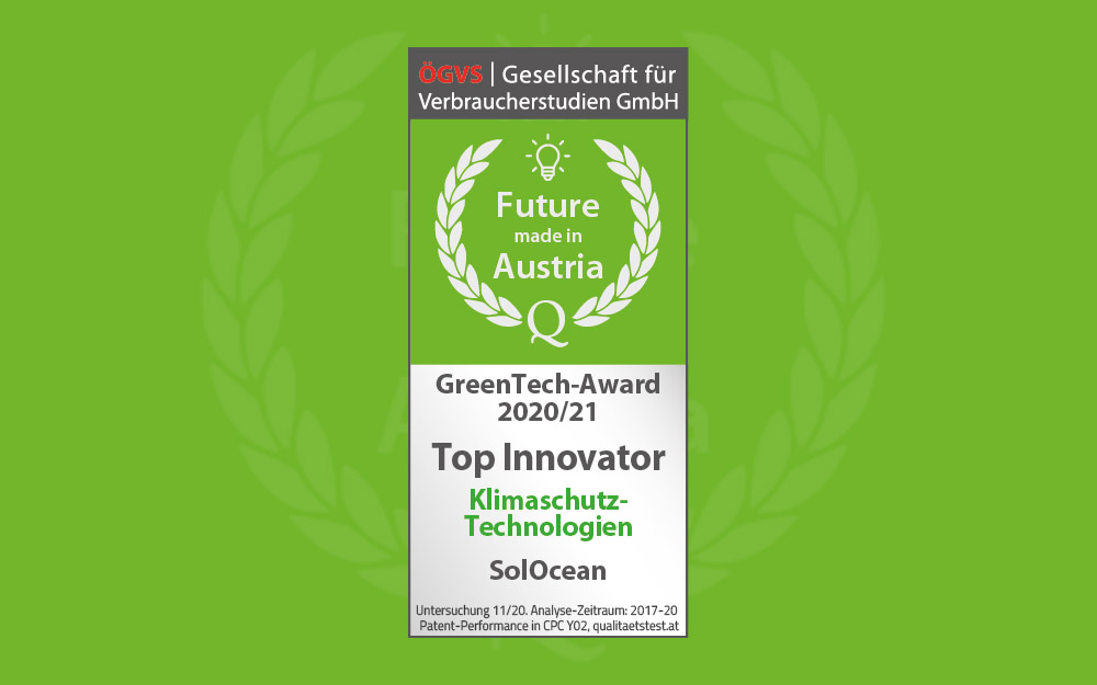 SolOcean was awarded the GreenTech Award 2020/21!